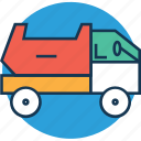 cargo, construction, dump truck, dumper, transport, truck, vehicle icon