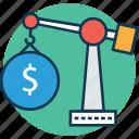 business crane, crane carry dollar, crane hook lifting us dollar, crane lifting, lifting crane, lifting dollar, tower crane icon