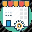cottage, marketplace, shop, shop preferences, shop settings, shop with cog, shopping store icon