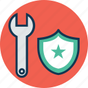 construction protection, protection, protection settings, protection shield and spanner, shield, spanner, wrench icon
