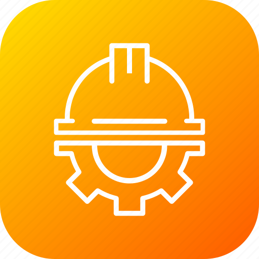 civil, engineer, helmet, protection, safety, setting icon
