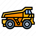 construction, dump, tipper, truck, vehicle icon