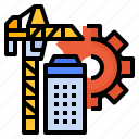 building, crane, management, project, tower icon