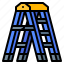 builder, construction, ladder, step, tool icon