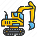 construction, digger, excavate, excavator, tractor, transportation, vehicle