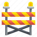 barricade, barrier, caution, construction, fence, safety, signaling icon