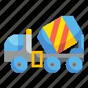 cement, concrete, construction, lorry, mixer, transport, truck icon