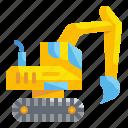 construction, excavate, excavator, machinery, tractor, transportation, vehicle icon