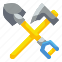 construction, dig, mine, pick, shovel, spade, tools icon