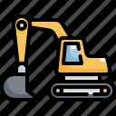 vehicle, digger, excavator, worker, construction, bulldozer icon