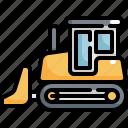 vehicle, truck, machine, excavator, worker, construction, bulldozer icon