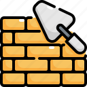 brick, building, construction, tool, tools, wall, worker icon