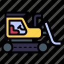bulldozer, excavator, construction, heavy vehicle, transportation