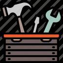 toolbox, tool, construction, repair, mechanic, hammer