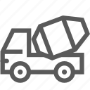 automobile, build, cement, mixer truck, truck mixer, vehicle icon