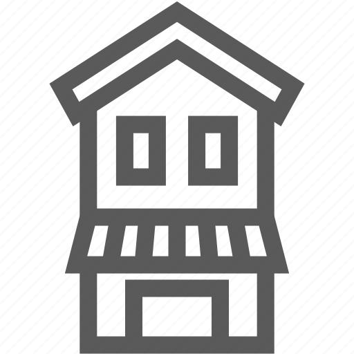 building, estate, home, house, real, restaurant, shop icon