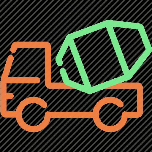 automobile, build, cement, mixer truck, truck mixer, vehicle icon