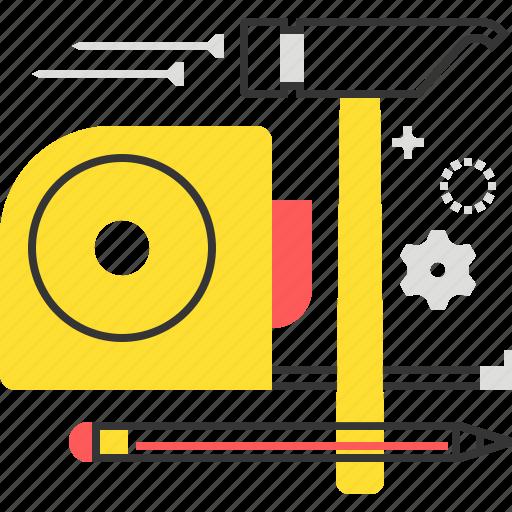 architecture, construction, measurement, meter, pen, tape icon
