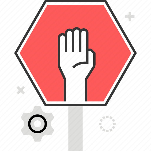 caution, hand, restriction, safety, sign, stop, traffic icon