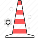 block, cone, danger, road, warning icon