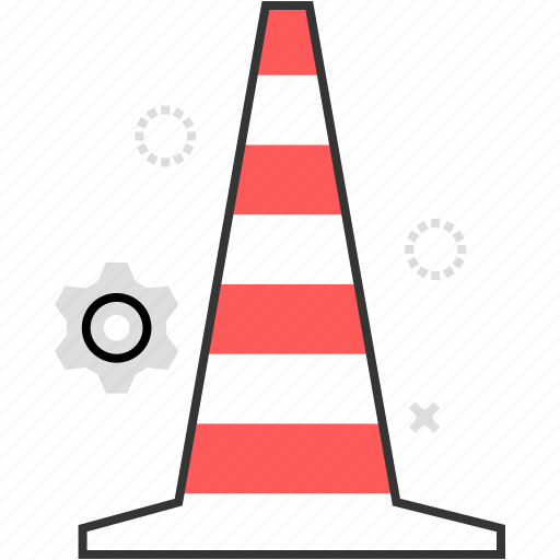 block, cone, danger, road, warning icon