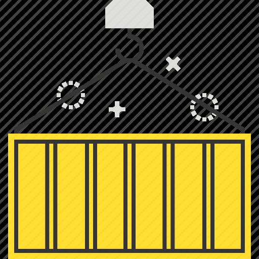 cargo, container, crane, hook icon