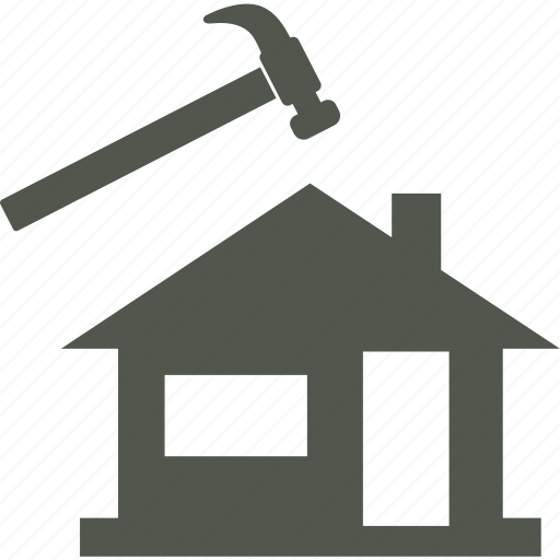 constraction, hammer, house, roofing icon