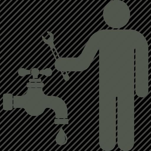 plumber, repairs, service, watertap, workman icon