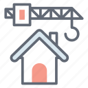 building construction, construction crane, home construction, house construction, tower cane icon