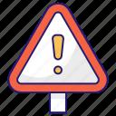 alert, danger, road, sign