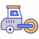construction, road, roller, tractor, vehicle