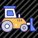 bulldozer, construction, excavator, transport