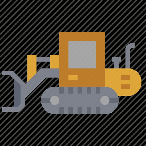 bulldozer, car, construction, crawler, loader, transportation, truck icon