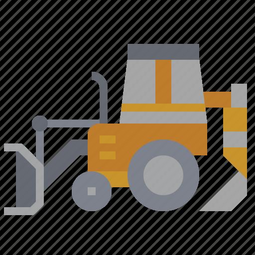 backhoe, bulldozer, car, construction, loder, transportation, truck icon