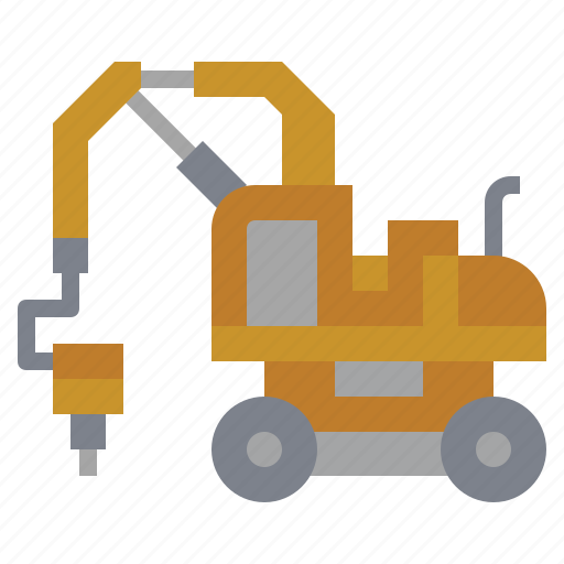 bulldozer, car, construction, hammer, transportation, truck, wheel icon