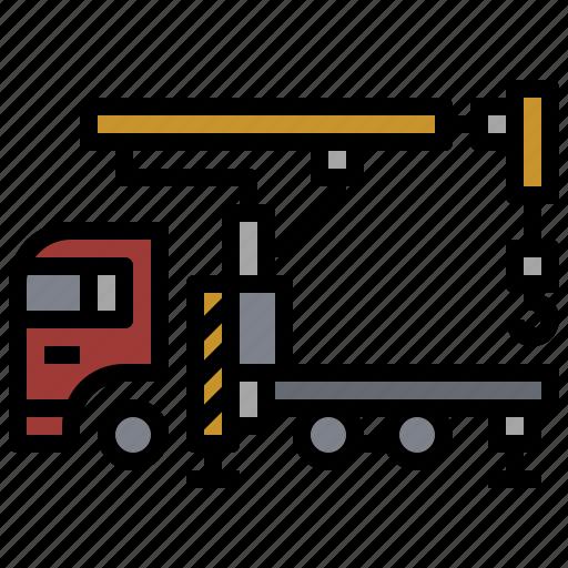 boom, bulldozer, car, construction, industry, transportation, truck icon