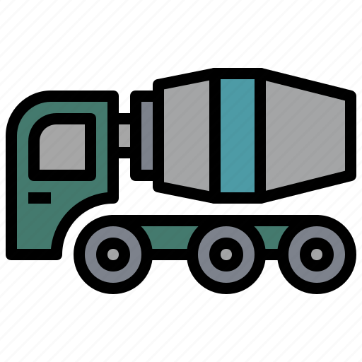 bulldozer, car, cement, construction, mixer, transportation, truck icon