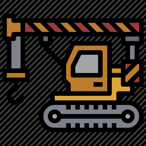 bulldozer, car, construction, crane, crawler, transportation, truck icon