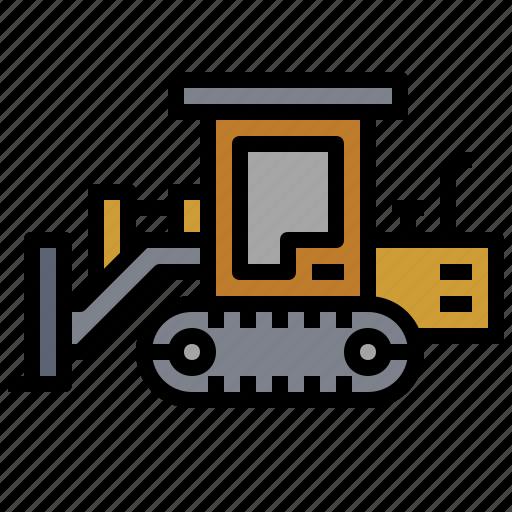 car, construction, crawler, dozer, machinery, transport, transportation icon