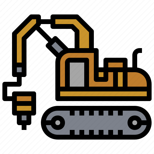 bulldozer, car, construction, excavator, hammer, transportation, truck icon