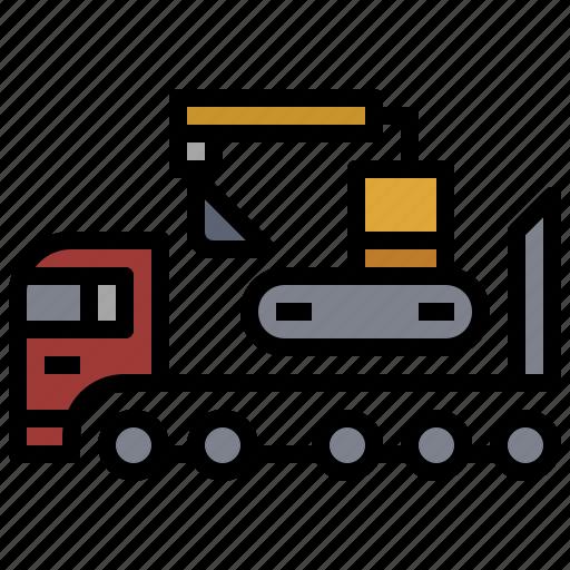 bulldozer, car, construction, industry, tipper, transportation, truck icon