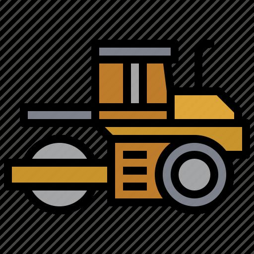 bulldozer, car, construction, roller, transportation, truck, vibratory icon