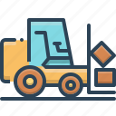 delivery, fork, fork lift, lift, truck, warehouse icon