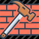 bricks, damaged, destroyed, hammer, hammer and bricks, shattered icon