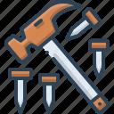 hammer, hammer and nail, hardware, nail, tool