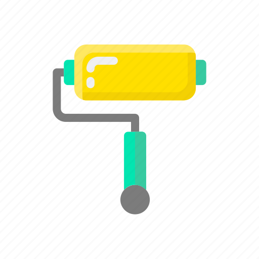 build, construction, paint, paint roller, tool, work icon
