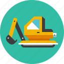 bulldozer, construction, excavator, industrial, industry, machine, vehicle icon