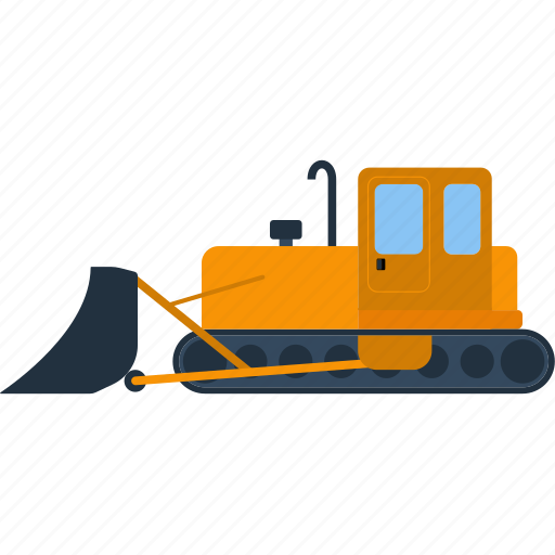 activity, background, blade, board, bucket, building, bulldozer, color, construction, conveyance, design, dig, digger, dredger, earth, equipment, excavation, excavator, flat, front, haulage, heavy, illustration, industrial, industry, loader, machine, machinery, metal, mining, modern, moldboard, mover, pit, quarry, scoop, shovel, single, soil, special, steer, technology, tractor, transport, ui, vector, vehicle, wheel, wheeled, work icon