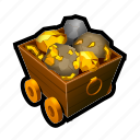 diamond, gold, car, tool, cave, mine