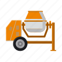 concrete mixer, construction, equipment, machinery, transport icon